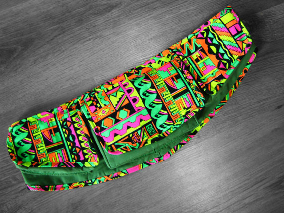 Tribal,Neon, Psychedelic Uv Reactive Festival Hip Bag