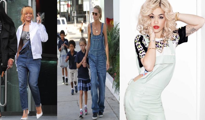 Rihanna, Rita Ora, Heidi Klum, Fashion, Overalls, Denim, Pastels, Spring, Summer, Chic, Trend Alert