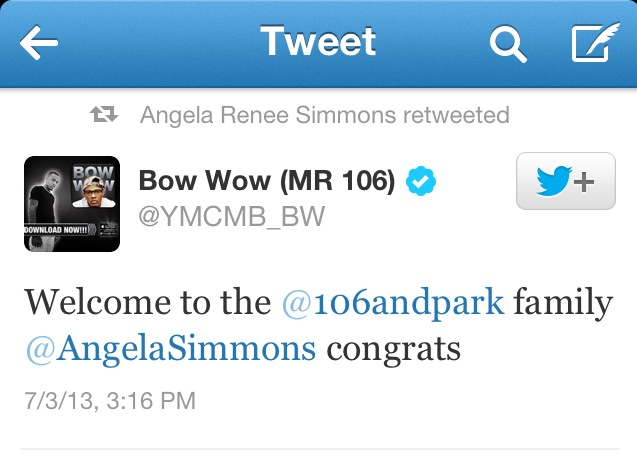 angela simmons,bow wow,106andpark,twitter